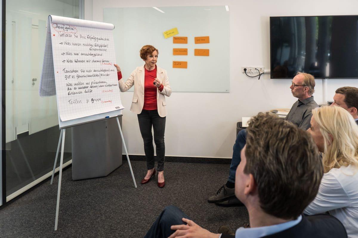 Meetingsituation Businesscoach und Teilnehmer schauen auf Flipchart